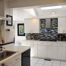Black And White Kitchen With Modern Cabinets Glass Tile Backsplash