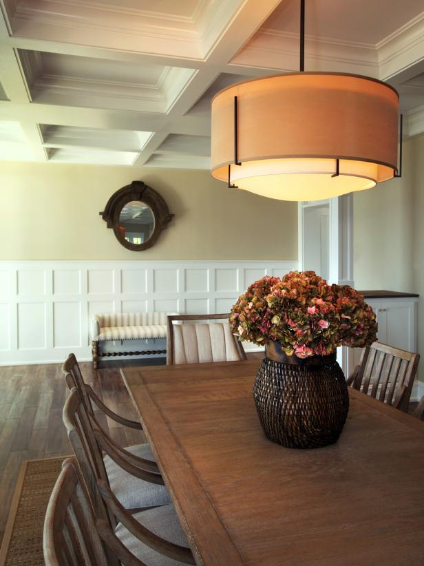 Neutral Dining Room with Wood Table, Coffered Ceiling, Pendant Light