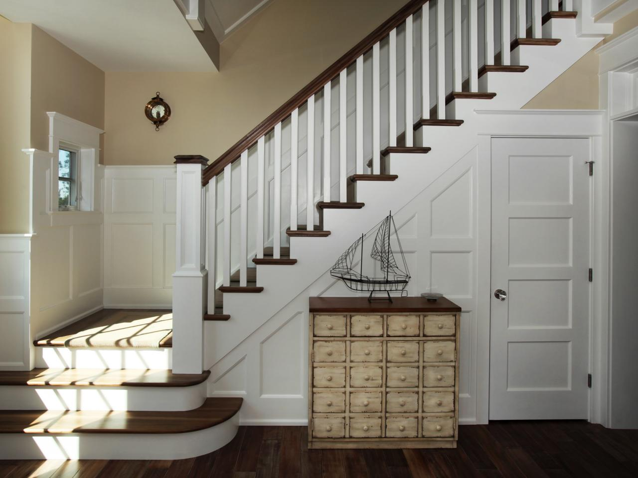 Foyer Staircase : Entryway staircase with coastal charm hgtv