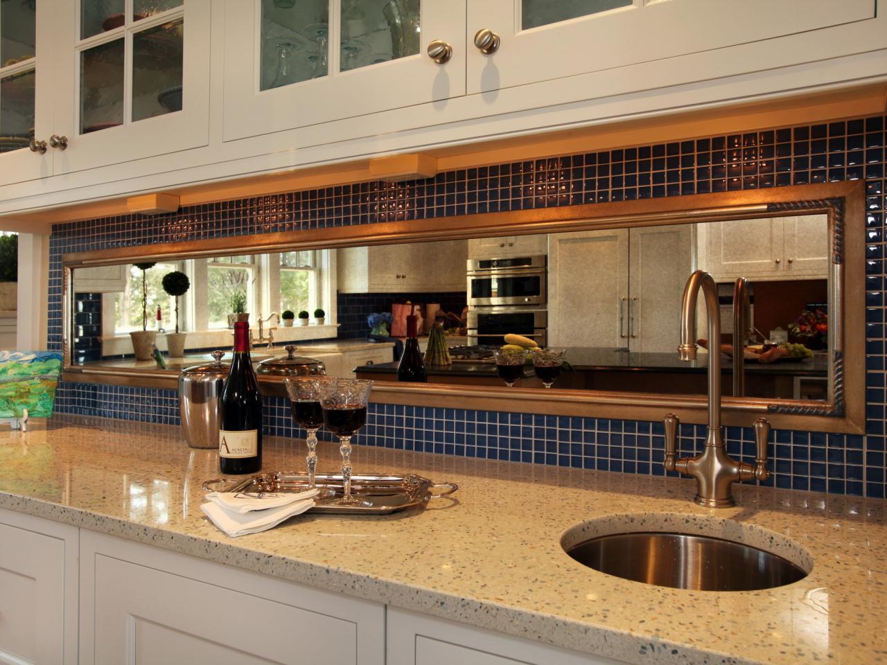 Mirror tile backsplash kitchen