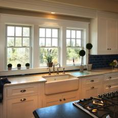 Cottage Kitchen With Blue Subway Tile Backsplash