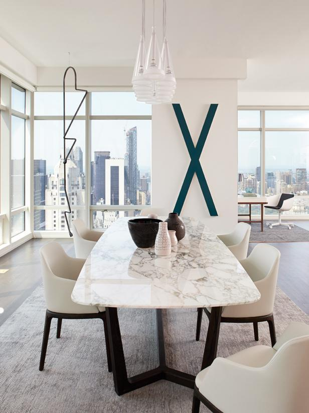 White Contemporary Urban Dining Room With City View