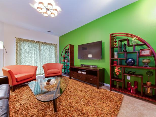 Contemporary Living Room With Bright Green Accent Wall