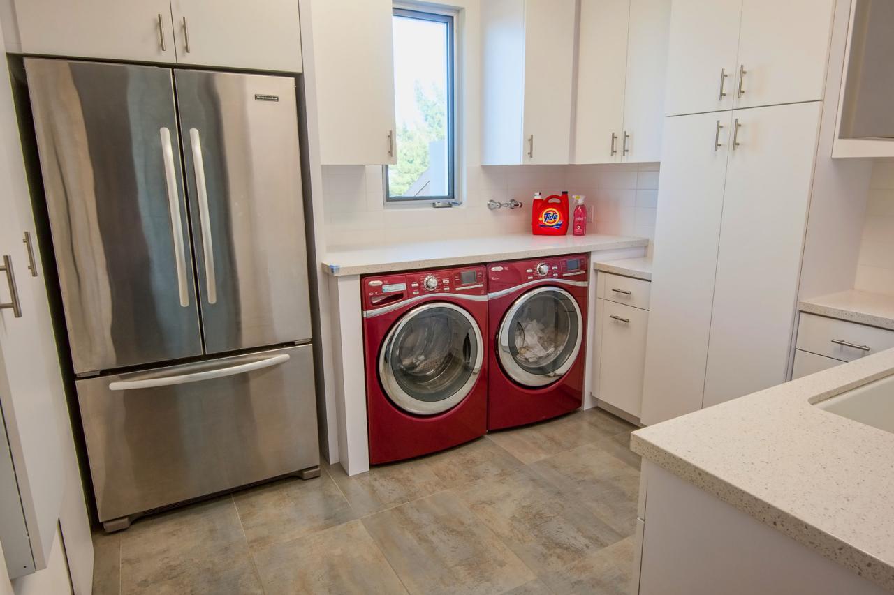Modern White Kitchen With Red Washer And Dryer Hgtv