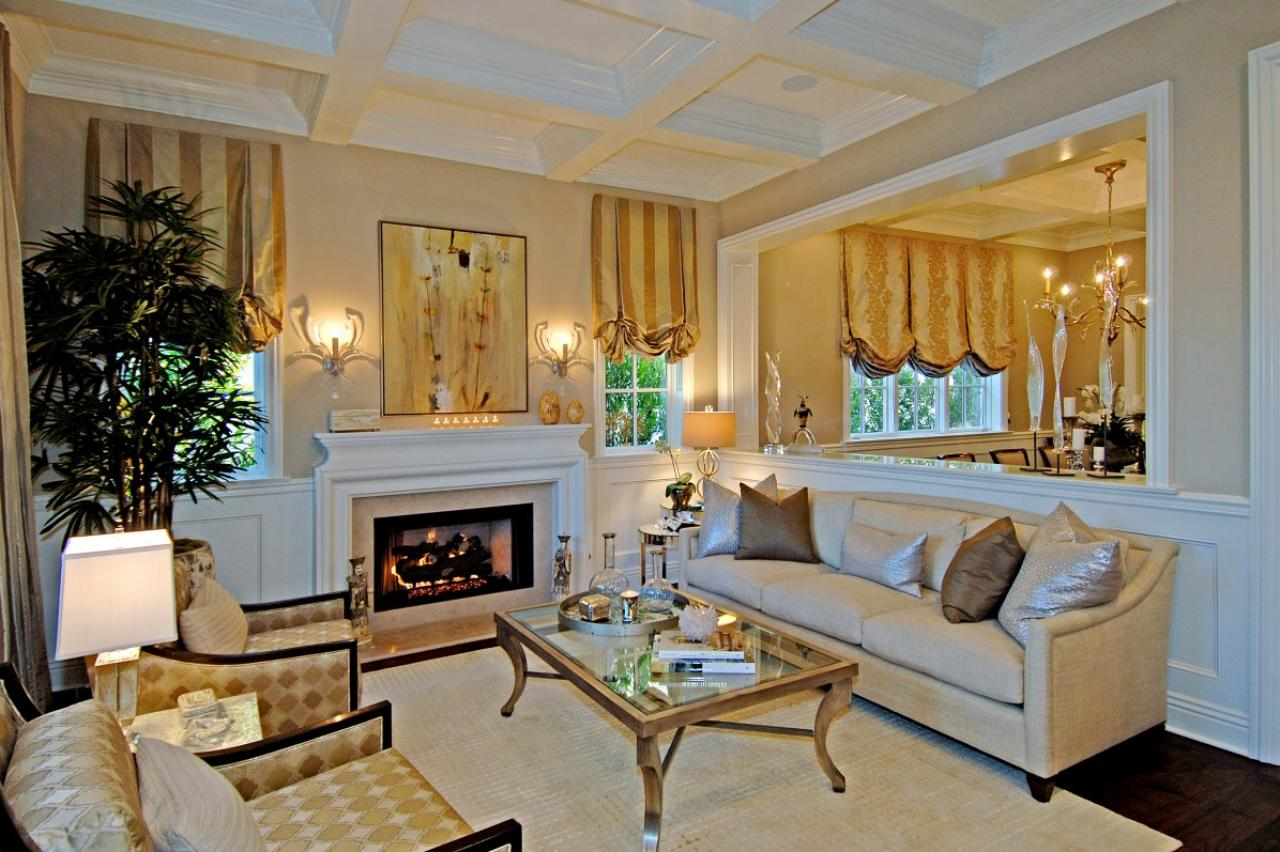 Traditional neutral living room with metallic accents and for Traditional living room