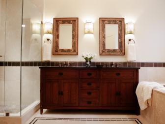 Transitional Bathroom With Craftsman Vanity and Marble Tiling
