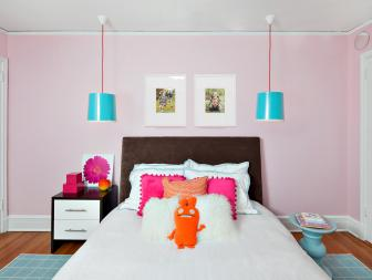Kid's Pink Contemporary Room with Colorful Accessories