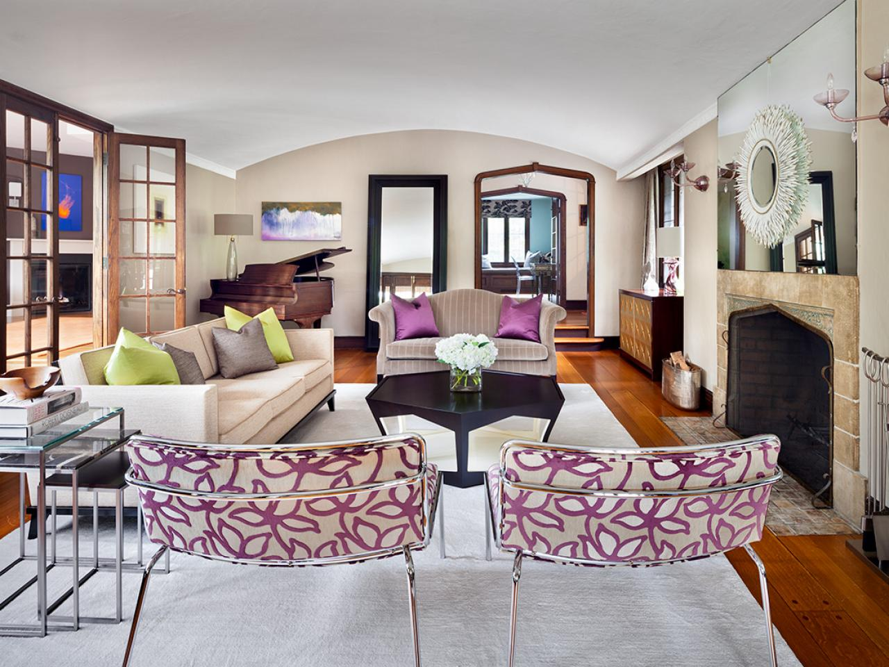 Photos claire paquin hgtv - Purple and tan living room ...