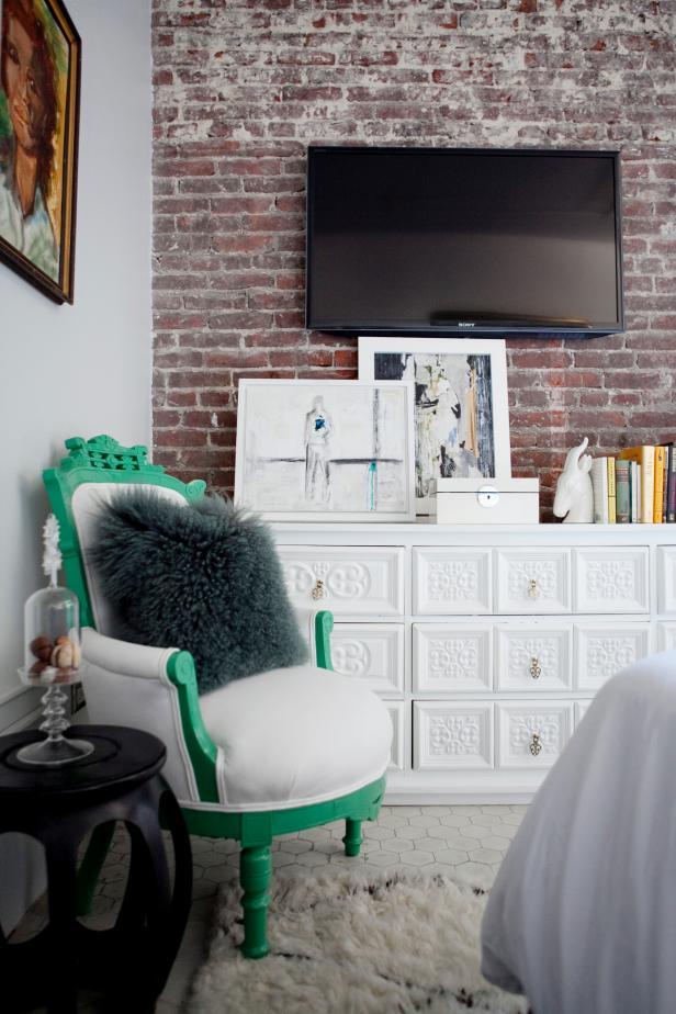 Vibrant Green Trim on Upholstered Armchair