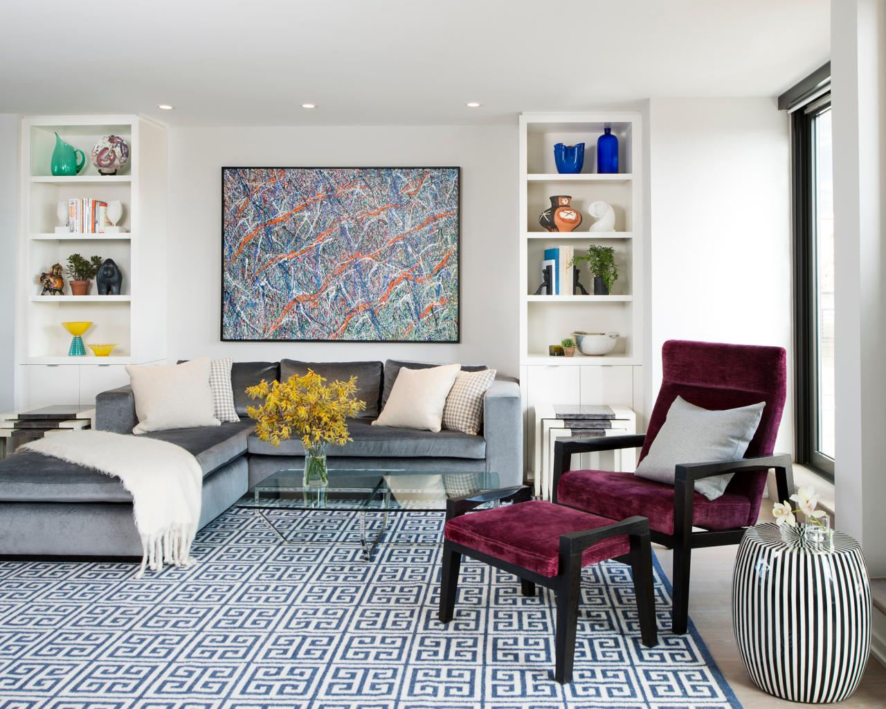 blue color living room. Mix patterns  12 Living Room Ideas for a Grey Sectional HGTV s Decorating