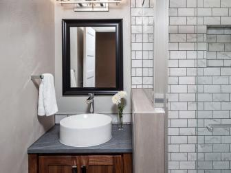 Neutral Small Modern Guest Bathroom