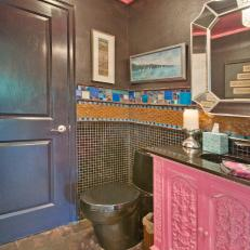 Colorful Powder Room With Pink Vanity
