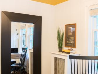 Charming Home Office With Sunny Yellow Ceiling