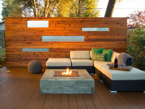 Asian-Inspired Deck With Fire Pit