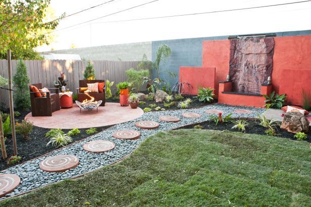 Eclectic Backyard Patio With Waterfall