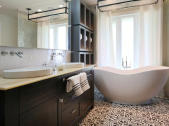 Modern Brown And White Bathroom With Soaking Tub