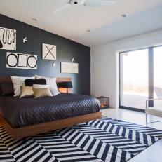 Modern Black-And-White Bedroom With Floor-To-Ceiling Windows