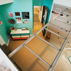 Modern Kid's Room With Rock Climbing Wall & Jungle Gym