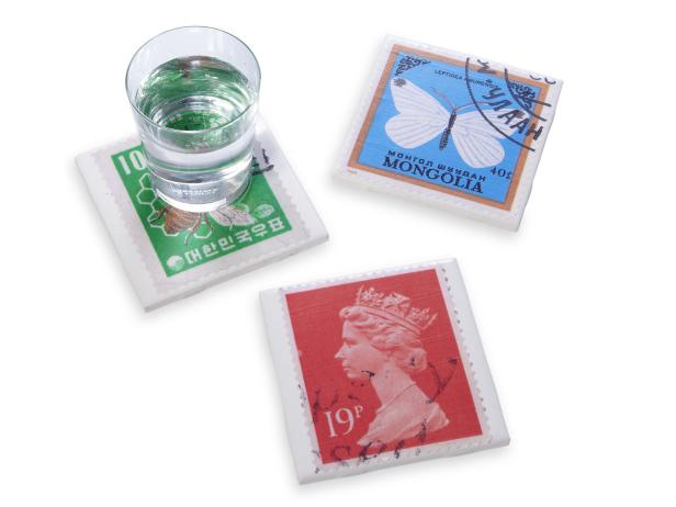Vintage Stamp Coasters DIy