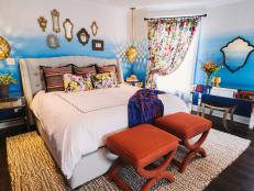 Eclectic Master Bedroom With Ombré Walls and Floral Curtains