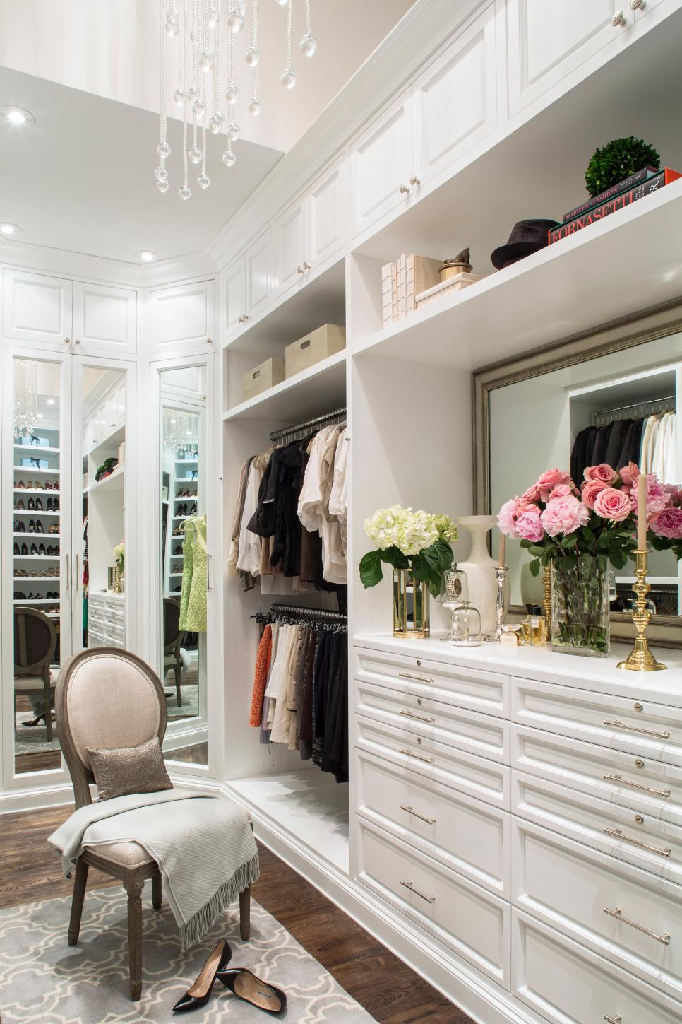 Luxurious master closet lisa adams hgtv for Walk in closet remodel