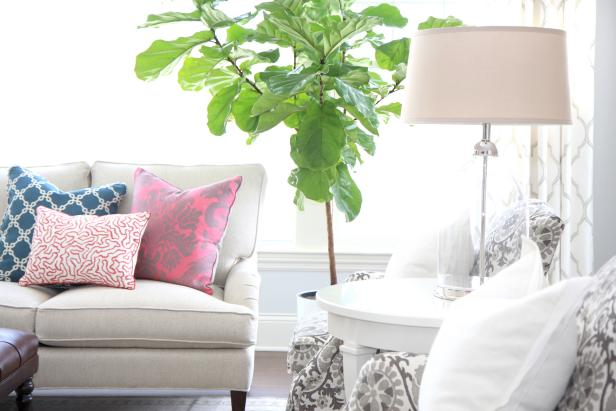 Patterned Pillows Add Color to Transitional Living Room
