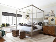 Light-Filled Eclectic Master Bedroom With Canopy Bed