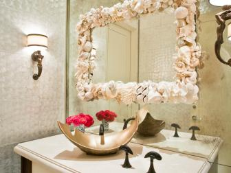 Contemporary Metallic Bathroom With Seashell Mirror