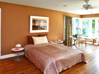 Transitional Orange Bedroom with Desk Area