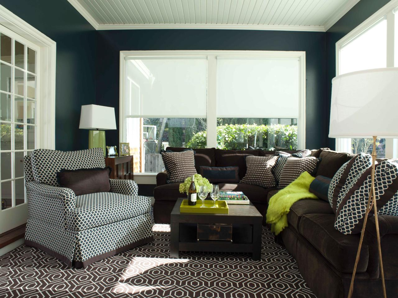 Brown and green living room - Amazing Dark Brown And Green Living Room Photos Ann Lowengart Hgtv