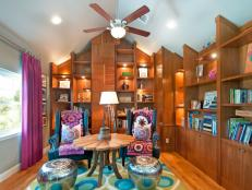Colorful, Eclectic Home Library Offers Comfy Seating