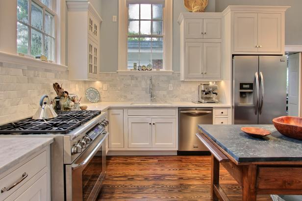 Neutral Transitional Kitchen With Antique Soapstone-Topped Island