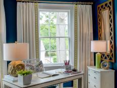Transitional Blue Home Office With Painted Ceiling