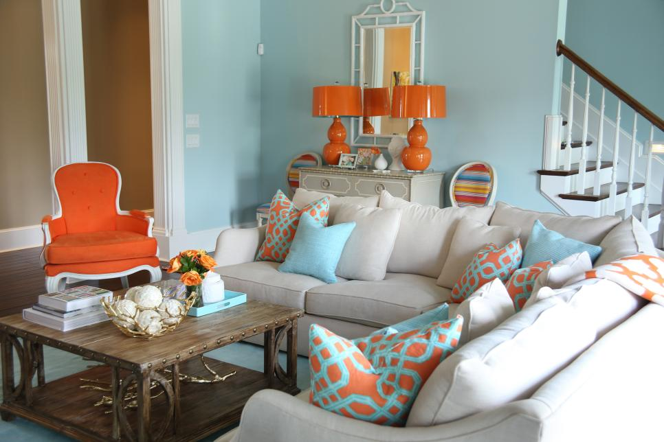 Orange And Aqua Blue Coastal Living Room Jenna Buck Gross HGTV
