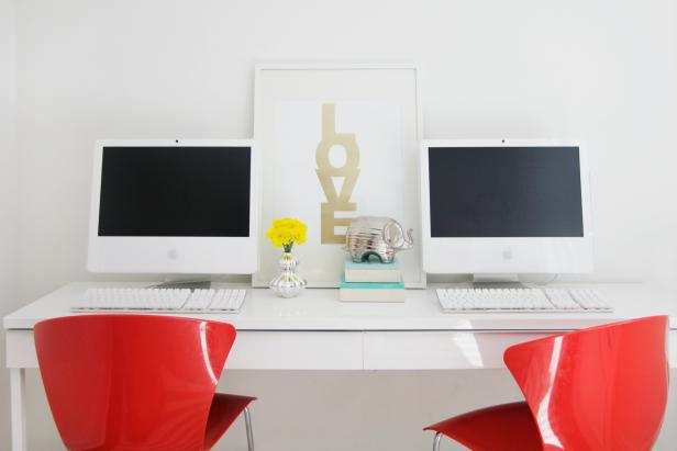 Sleek White Home Office With Mod Red Desk Chairs