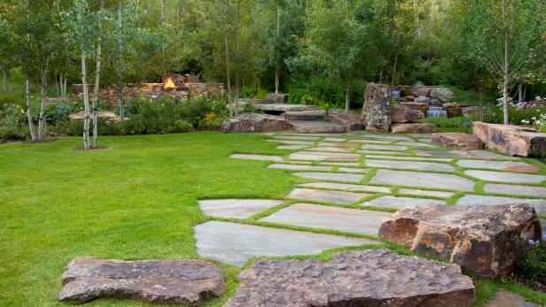 Stone Paver Walkway Trimmed With Green Grass