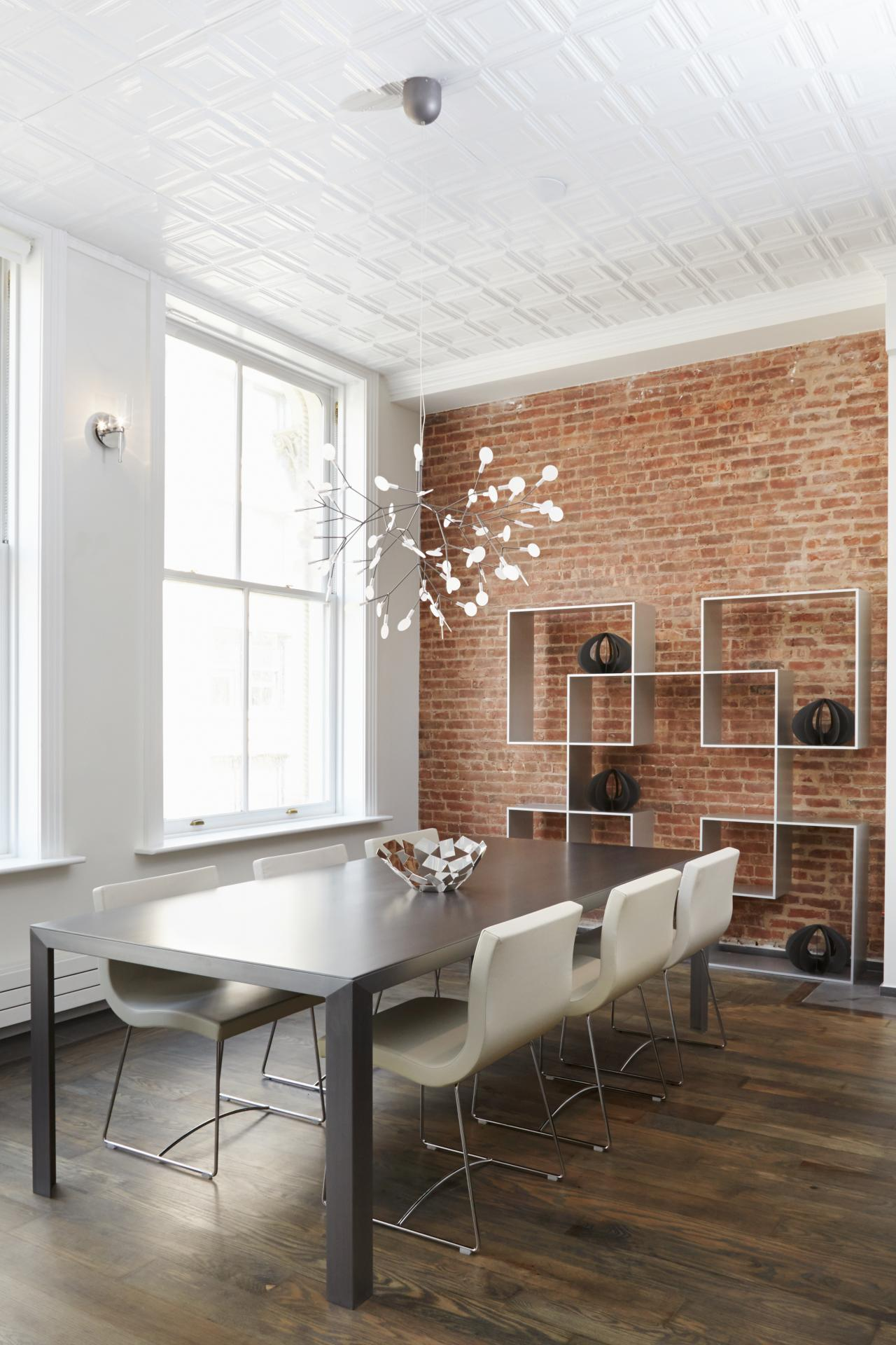 15: Shelves. Modern White Dining Room With Exposed Brick Wall