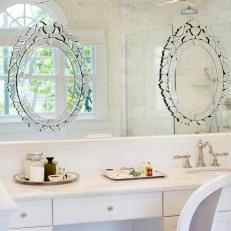 traditional master bathroom vanity with venetian mirrors