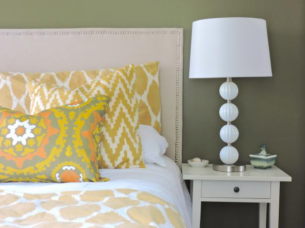Olive-Green Transitional Bedroom With Custom Headboard