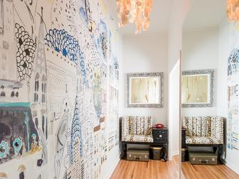 Whimsical Wall Mural in Neutral Eclectic Loft Hallway