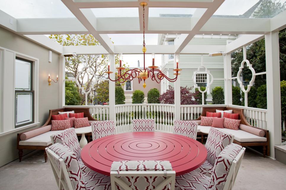 Red and White Outdoor Dining Room