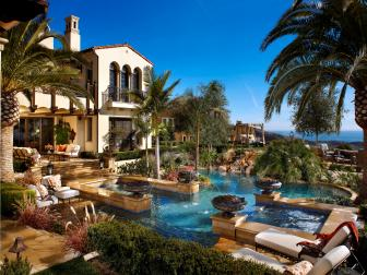 Mediterranean Backyard With Luxury Pool
