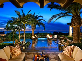 Covered Mediterranean Patio With Pool and Ocean View