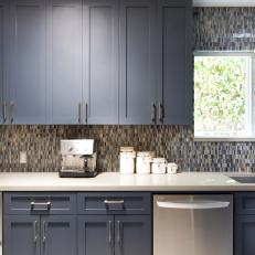 Midcentury Kitchen With Blue Cabinets