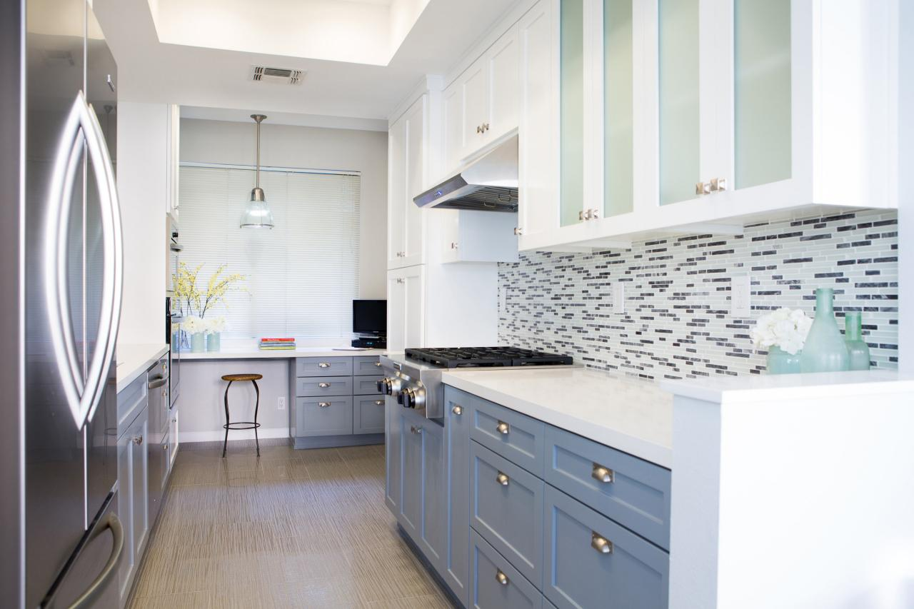 Colorful painted kitchen cabinet ideas hgtv 39 s decorating for Kitchen cabinets 2 colors