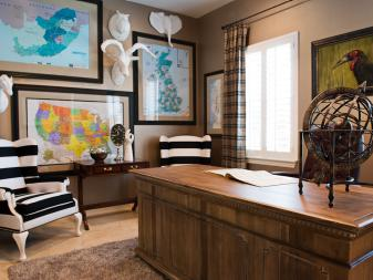 Eclectic Home Office With Framed Maps