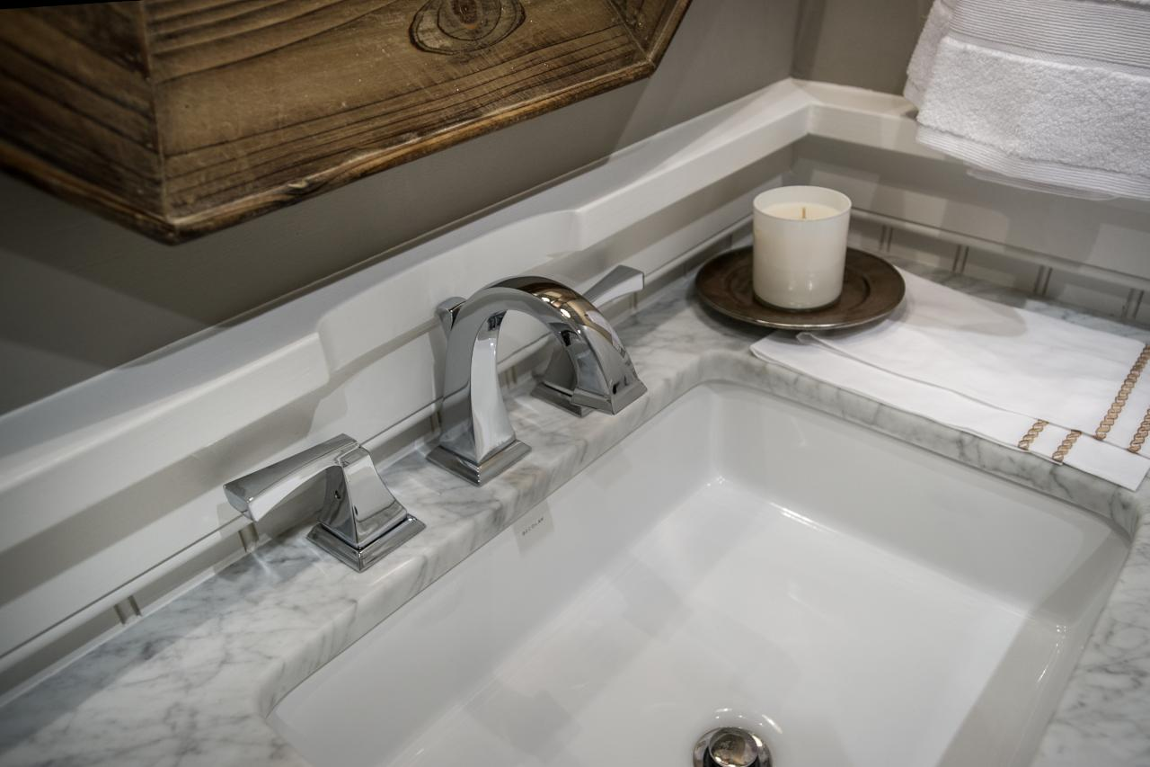 Best Faucet For Laundry Room Sink : chrome faucet and decolay sink clean lines define this chrome faucet ...