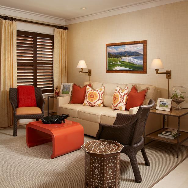 Photo page hgtv for Burnt orange living room ideas