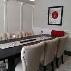 Transitional Neutral Dining Room With Red Accent Chair