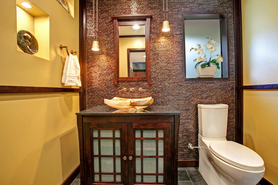 Asian inspired powder room with tile accent wall jackson for Asian small bathroom design